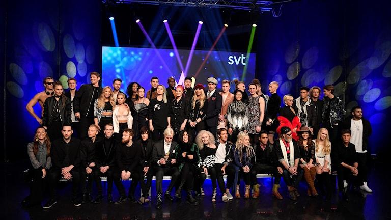 Samtliga tävlande i Melodifestivalen.