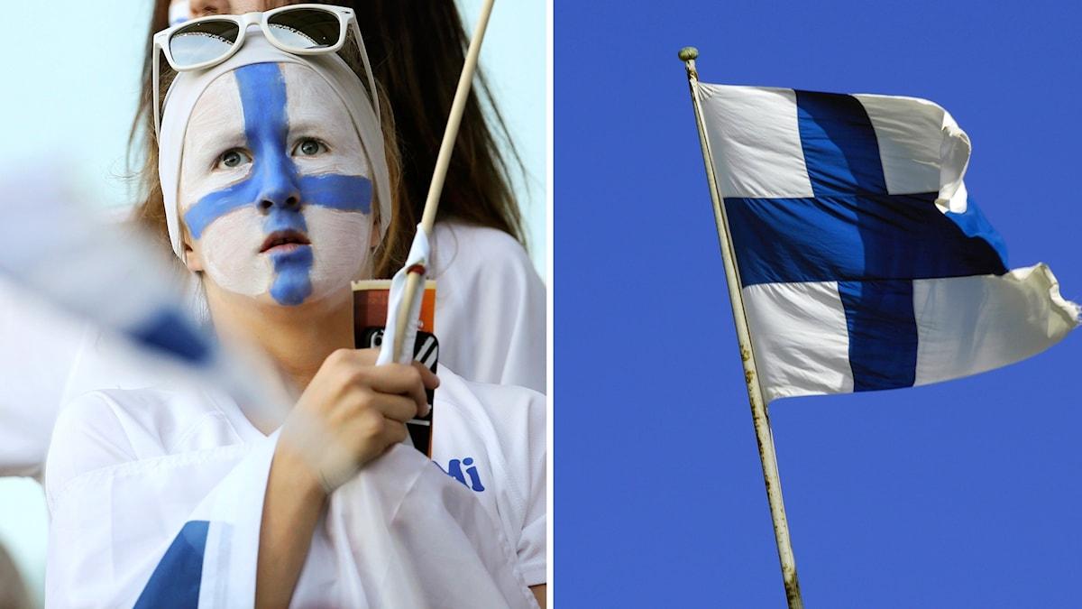 Foto av en kvinna sminkad i finska flaggans färger, vit och blå.