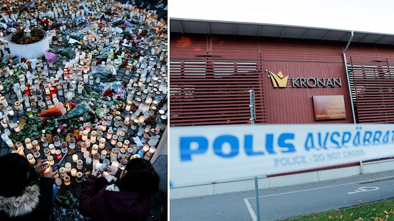 Bildmontage av ljus och blommor vid en minnesplats i Trollhättan samt polisens avspärrningsband framför skolan.