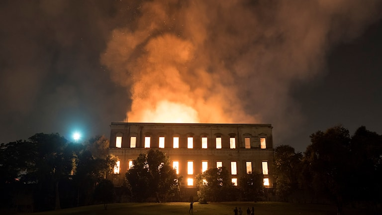Brand vid nationalmuseet i Brasilien