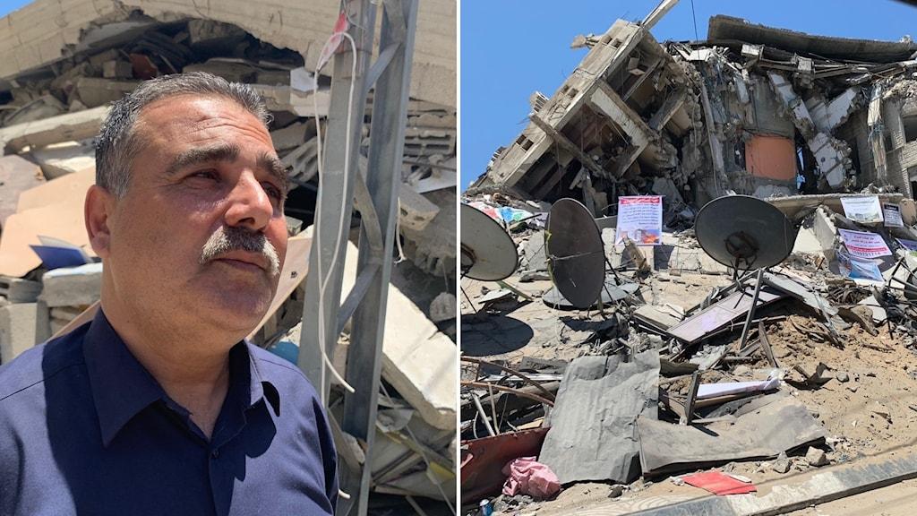Bokhandlare i Gaza som fått livsverket förstört