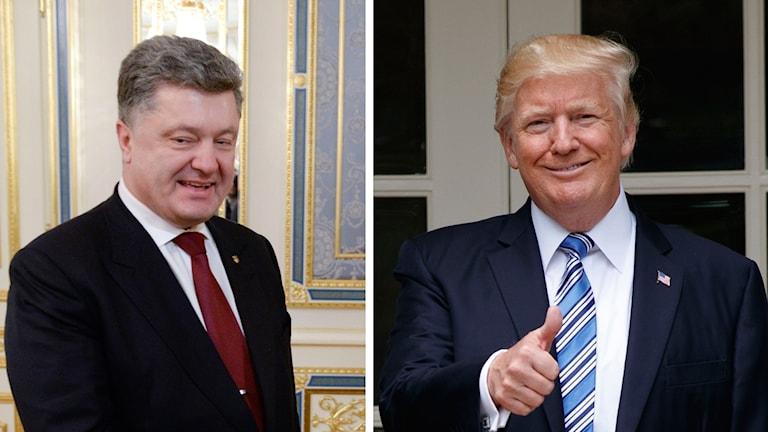 Petro Porosjenko och Donald Trump. Foto: Gustav Sjöholm/Evan Vaii/TT. Montage: Sveriges Radio.