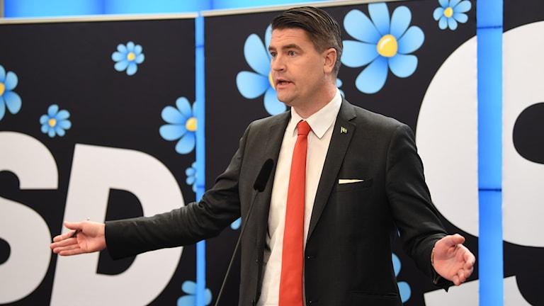 Sverigedemokraternas ekonomisk-politiska talesperson Oscar Sjöstedt.