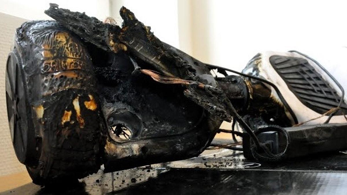 En sönderbränd hoverboard.