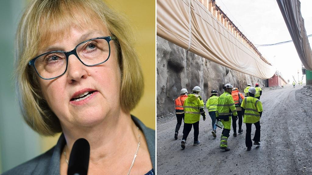 Trafikverkets generaldiriktör Lena Erixon (t.v). Tunnelnedfart i Vinsta, en del av Förbifart Stockholm (t.h).