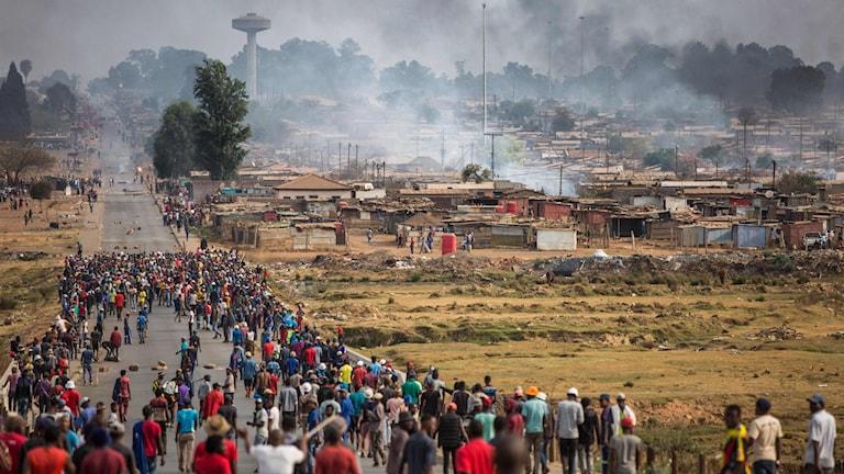 Oroligheter i Katlehong Township i Johannesburg 5 september 2019.