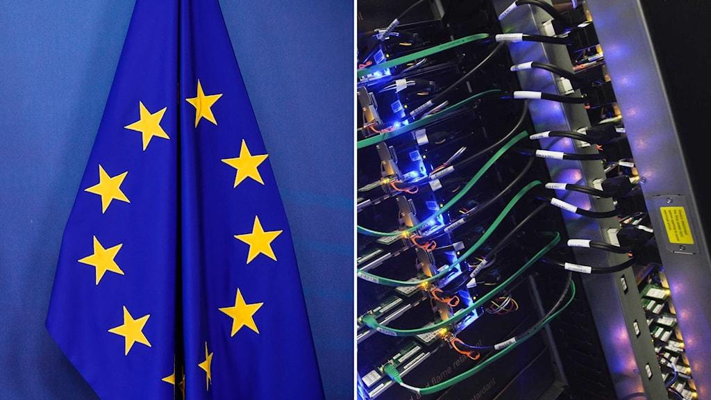 EU flagga och sladdar i server.