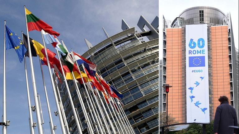 EU-flaggor samt banderoll alar om att EU firar 60 år.