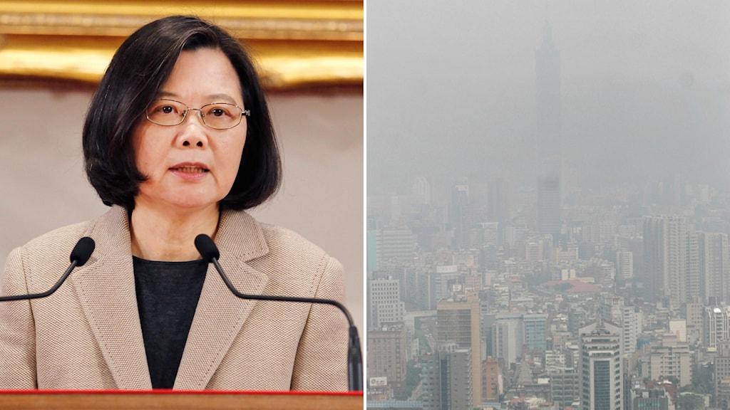 Taiwans president Tsai Ing-wen (t.v) och huvudstaden Taipei (t.h).
