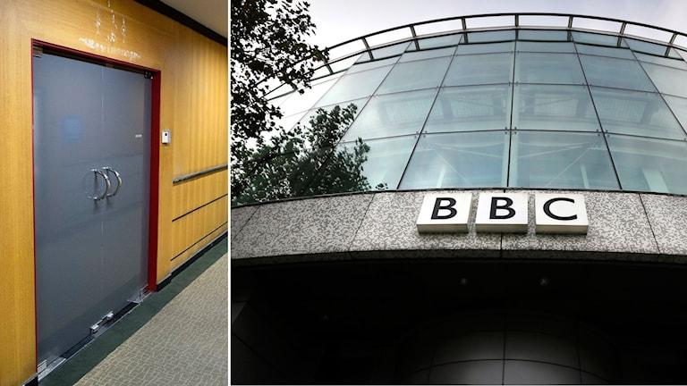 Tvådelad bild: BBC:s kontorsdörr i Thailand, en grå stor dörr och BBC:s logga på en byggnad
