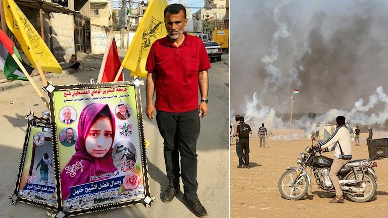 Delad bild: Man vid stor affisch på ung flicka, motorcykel framför tårgasbeskjutning vid en palestinsk flagga.