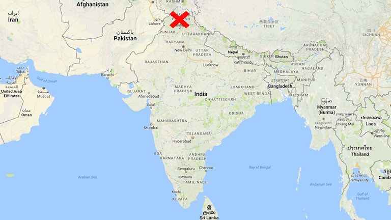 karta indien med rött kryss.