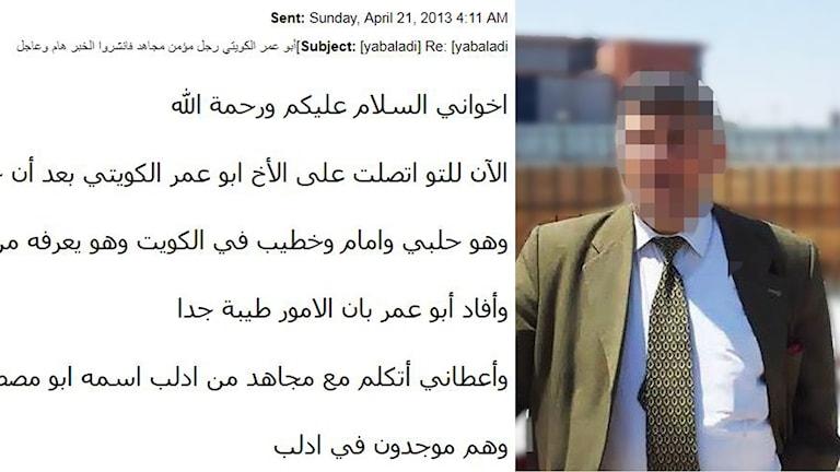 """Ett av mejlen på arabiska och """"Amir"""" från Kuwait som först lade ut texten med de falska påståendena på Facebook."""