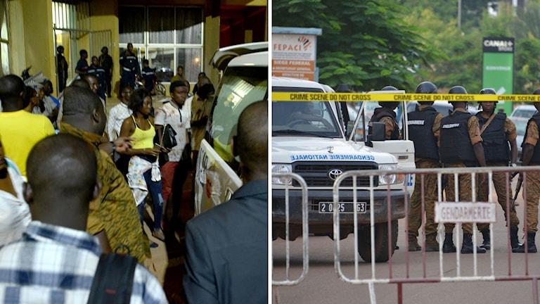 Skadade människor och polis vid avspärrningar.
