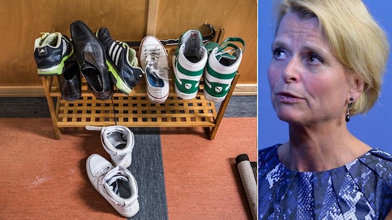 Åsa Regnér och foto på skor från HVB-hem
