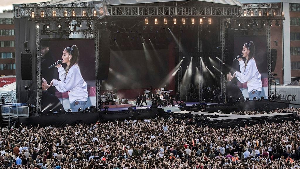 Ett stort publikhav syns framför scenen där Ariana Grande framträder.