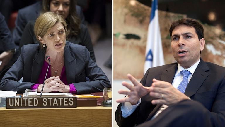 USA:s FN-ambassadör Samantha Power och Israels FN-ambassadör Danny Danon.