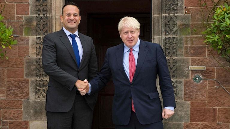 Irlands premiärminister Leo Varadkar och Storbritanniens premiärminister Boris Johnson-