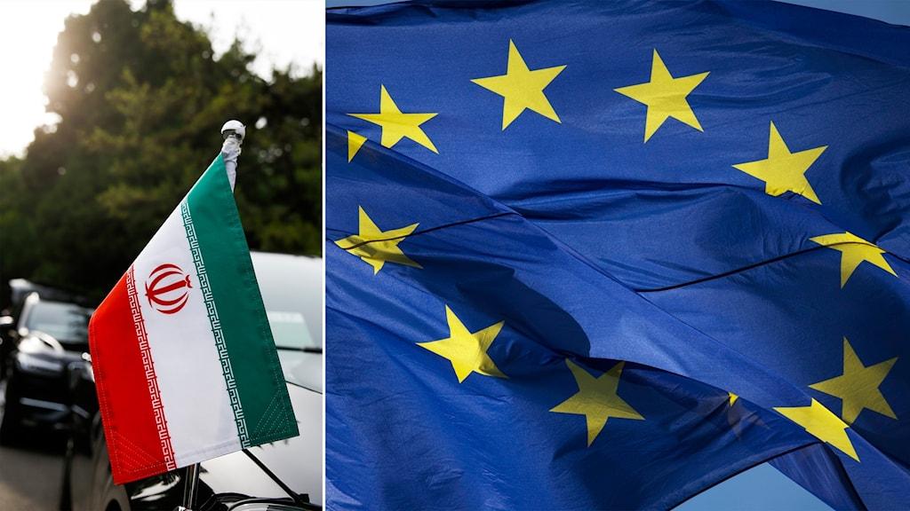 Flaggor från Iran och EU