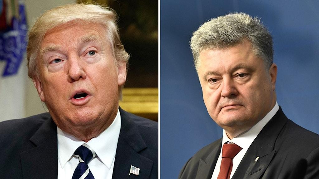 Den amerikanske presidenten Donald Trump och Ukrainas president Petro Porosjenko