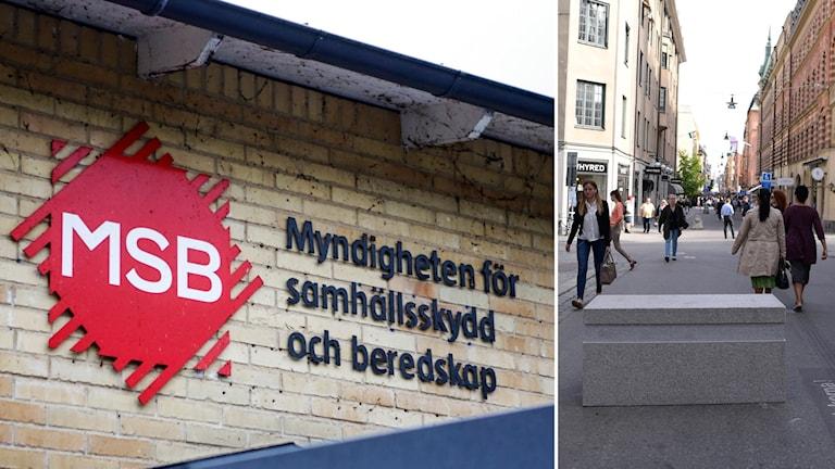 Bildkollage med logotypen för MSB och ett granitblock på en gata.