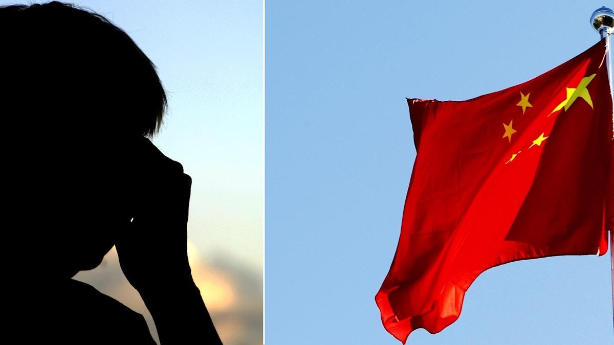 Anonym person pratar i telefon och kinesiska flaggan.
