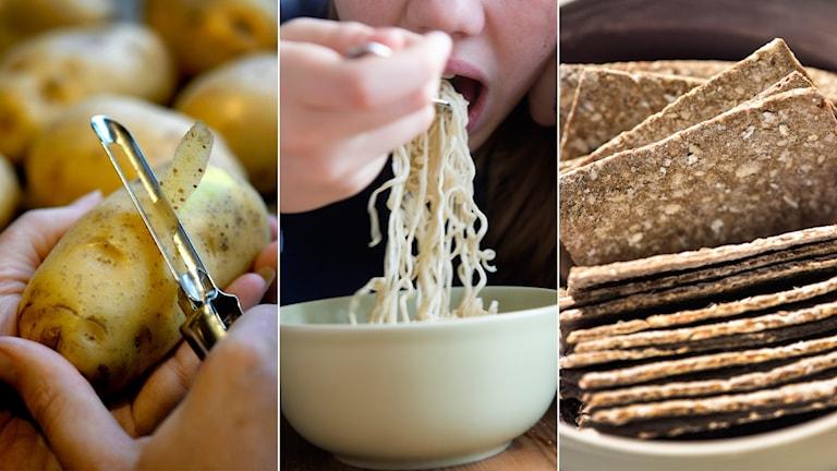 kolhydrater, potatis, nudlar, knäckebröd