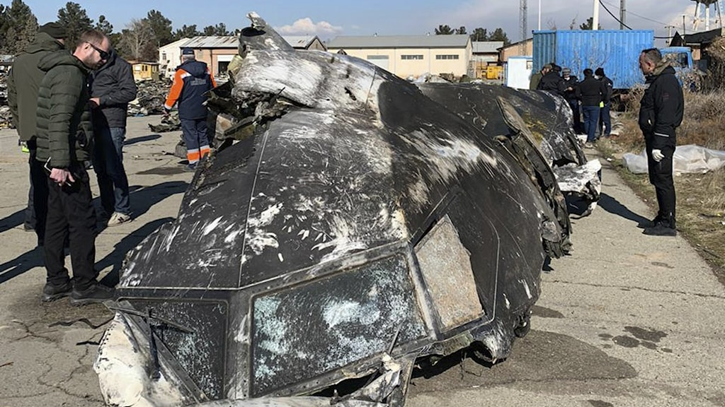 Delar av det nedskjutna flygplanet.
