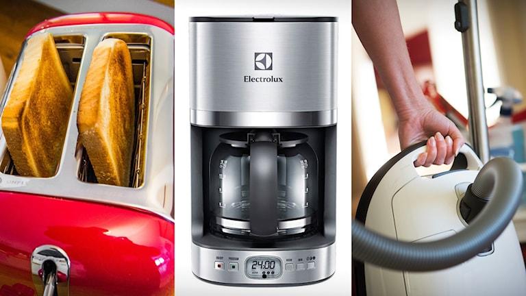Brödrost, kaffebryggare och dammsugare.