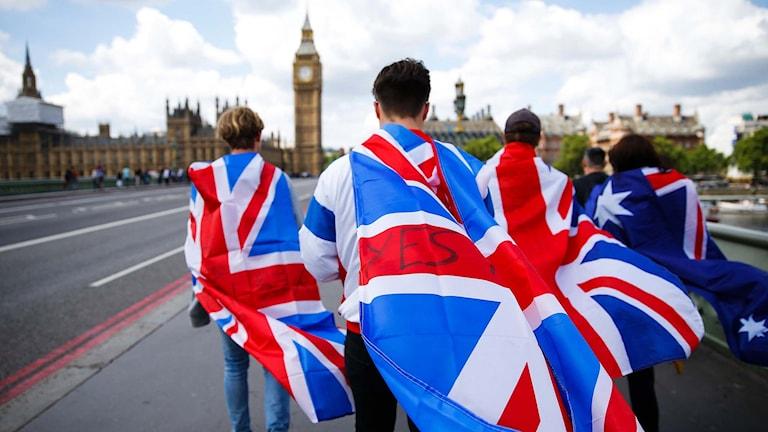 Personer i London som går insvepta i brittiska flaggor.