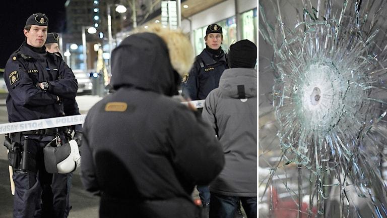 Polis står vid avspärrning, på andra sidan avspärrningen står människor
