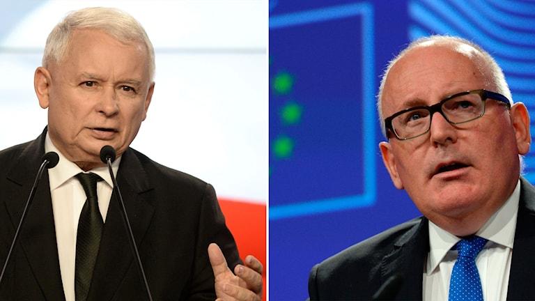 Jaroslaw Karcynski, ledare för regeringspartiet i Polen, och Frans Timmermans, EU-kommissionens vice ordförande.