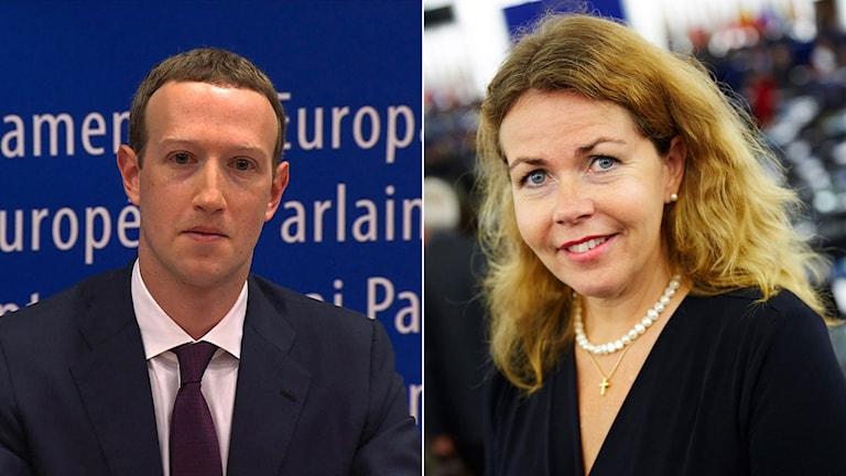 Mark Zuckerberg, till vänster, till höger Cecilia Wikström.