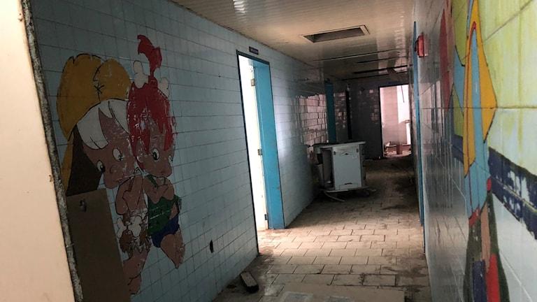 Delar av barnsjukhuset i Caracas ser ut som en övergiven byggarbetsplats