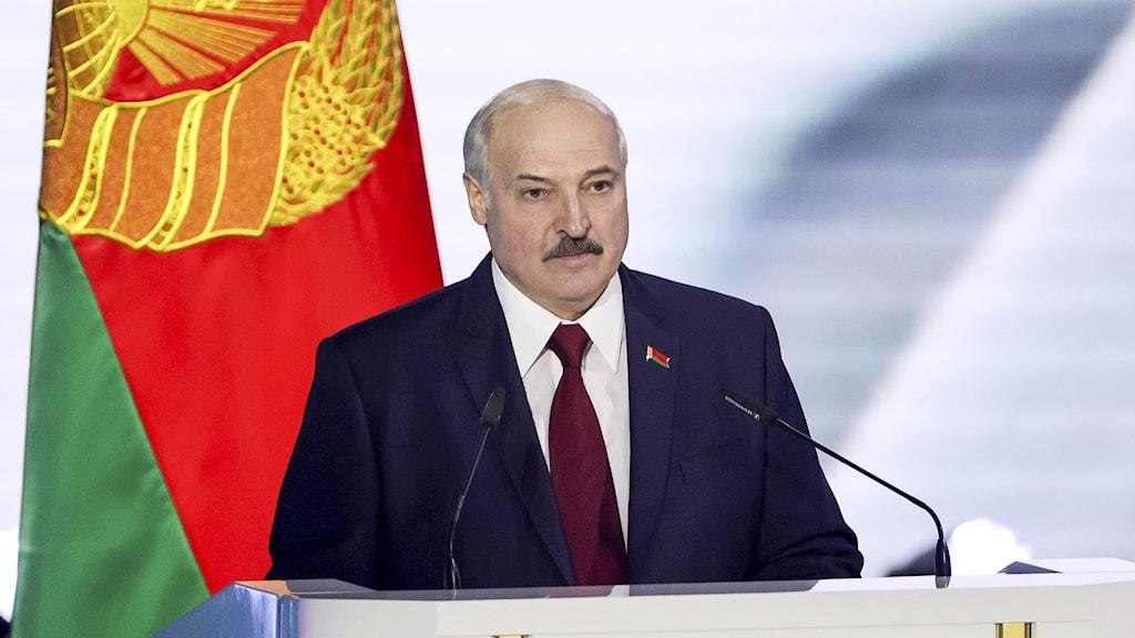 Belarus/Vitrysslands president Lukasjenko håller tal 4 augusti 2020.