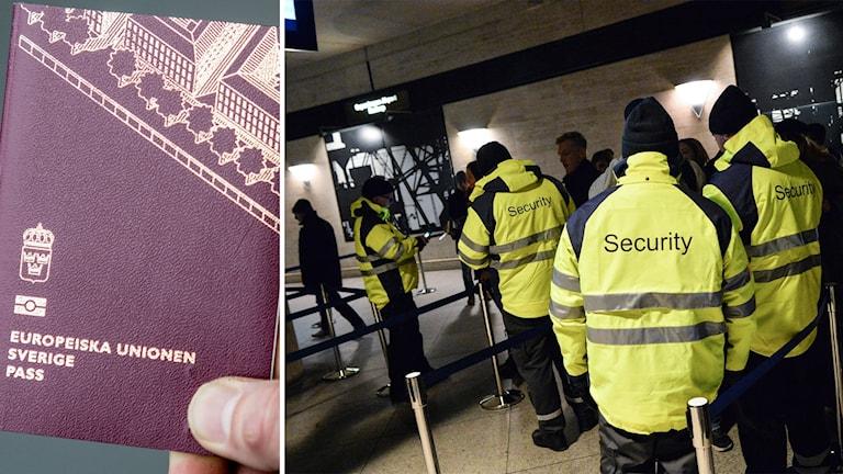 Delad bild: Pass och en gränskontroll på Kastrups flygplats.
