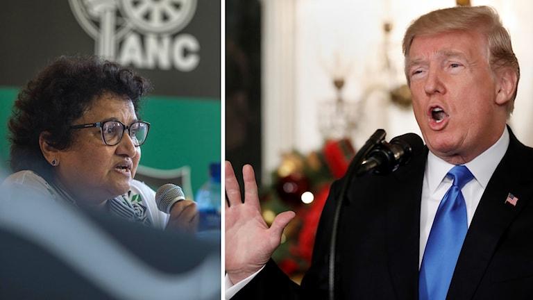 Jessie Duarte, generalsekreterare för Sydafrikas regeringsparti ANC och Donald Trump.