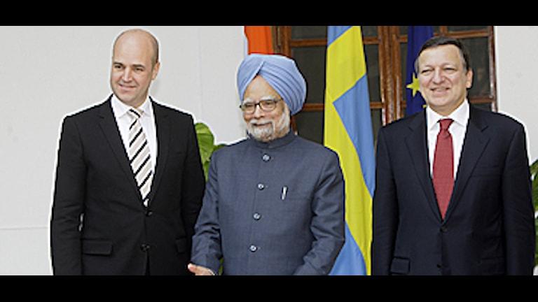 Fredrik Reinfeldt, Manmohan Singh och José Manuel Barroso. Foto: Gurinder Osan/Scanpix.