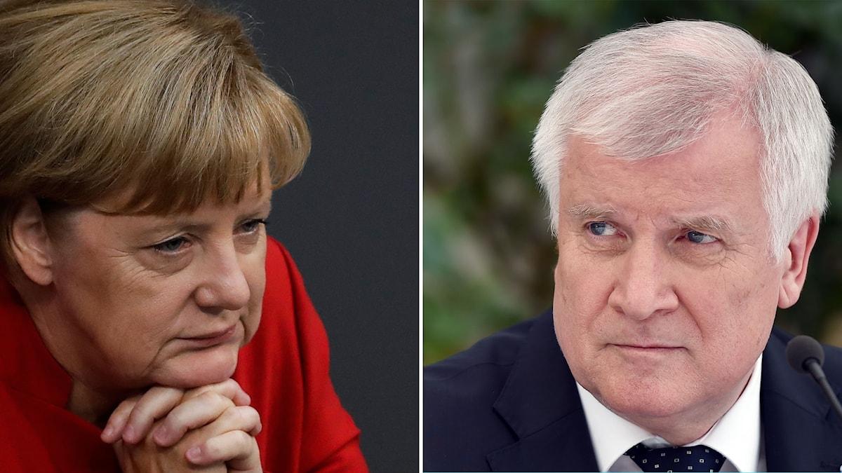 Delad bild: Merkel och Seehofer.