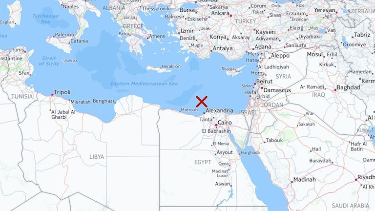 karta båtförlisning Egypten