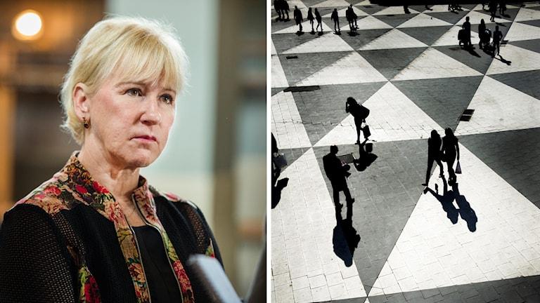 Bild på Margot Wallström och genrebild från Sergels torg