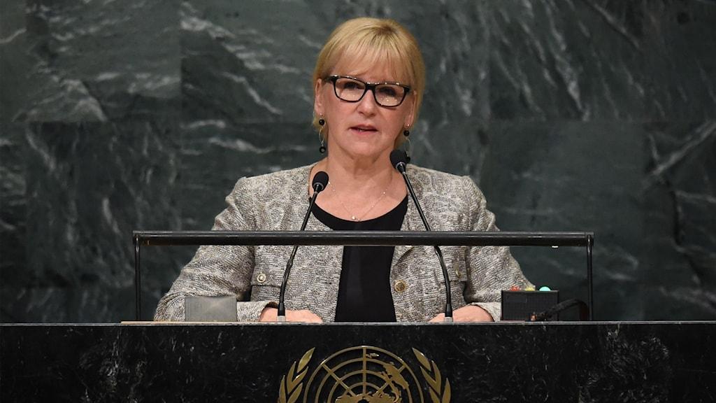 Margot Wallström håller Sveriges årliga tal inför generalförsamlingen.