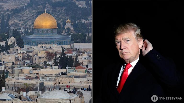 Bild över Jerusalem och ett porträtt av Donald Trump. Foto: TT