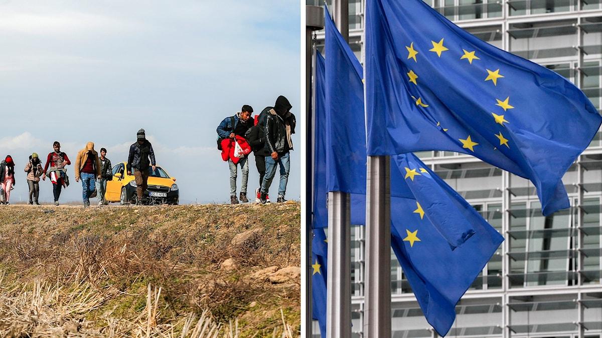 EU höll ett extrainsatt möte om migrantsituationen. Foto: Emrah Gurel/Yces Logghe/AP/TT. Montage: Sveriges Radio.