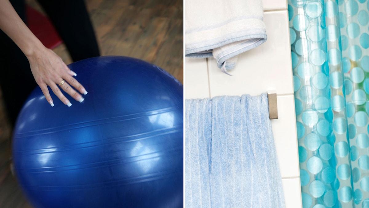 Stor blå pilatesboll. Grönprickigt duschdraperi.