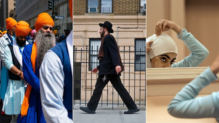 Tredelad bild: En sikh med orange turban, en jude som går, en kvinna justerar sin hijab.