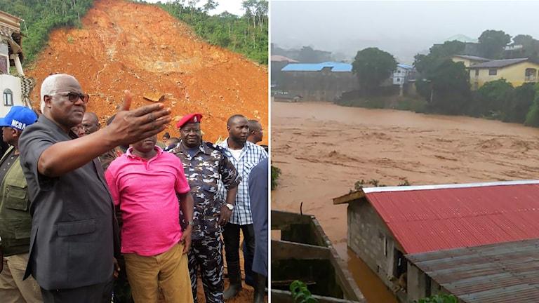 Grupp med personer och översvämning.