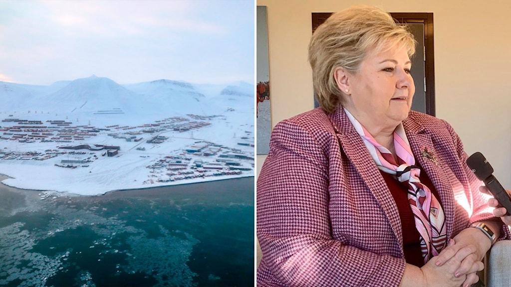 Till vänster: Longyearbyen på Svalbard. Till höger: Norges statsminister Erna Solberg.