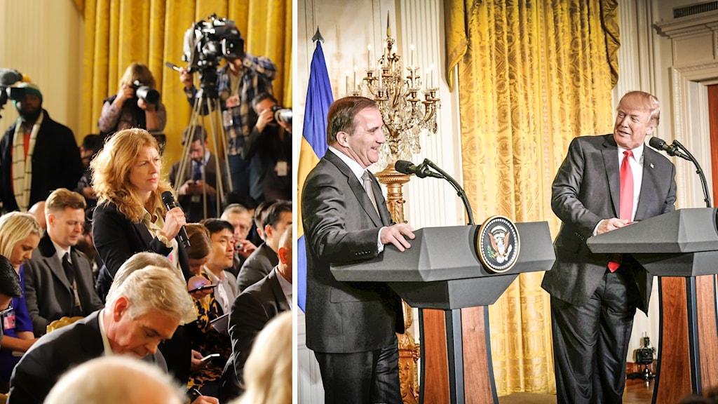 Ekots korrespondent ställer frågor till Trump och Löfven.