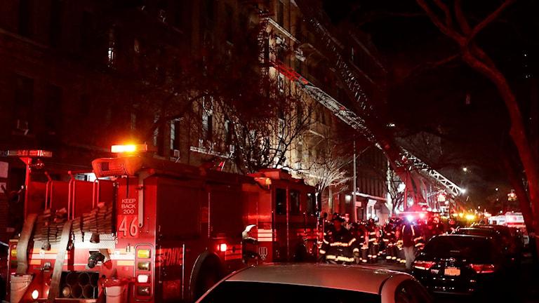 Räddningstjänsten bekämpar en brand i Bronz